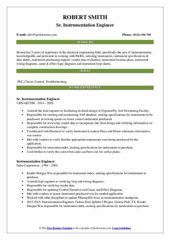 instrumentation engineer resume samples