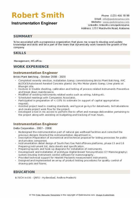 Sample resume for instrumentation engineer fresher errand runner resume