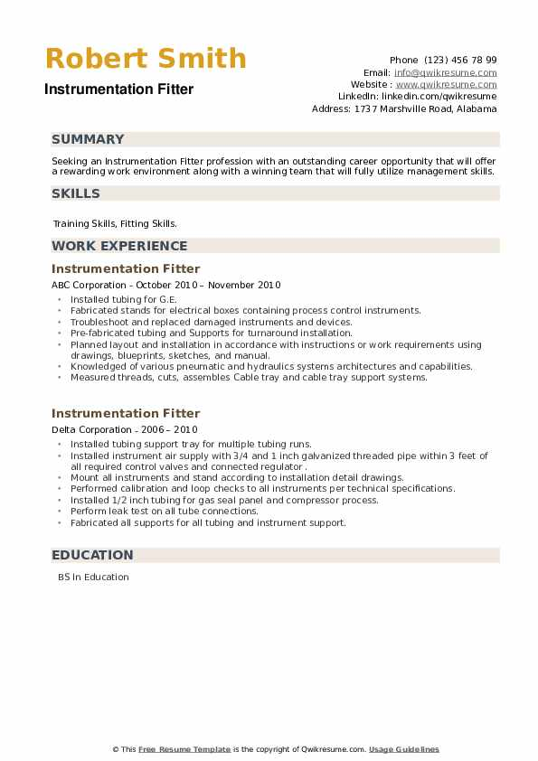 Instrumentation Fitter Resume example