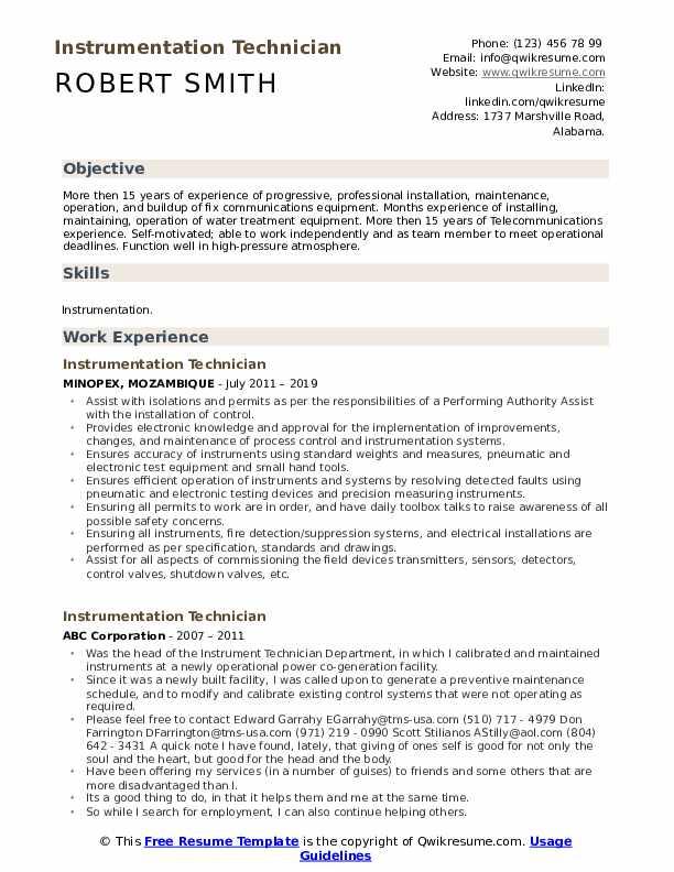 Instrumentation Technician Resume Template