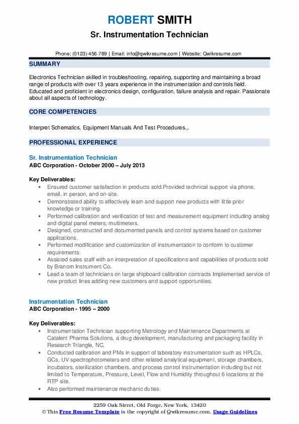 Sr. Instrumentation Technician Resume Format