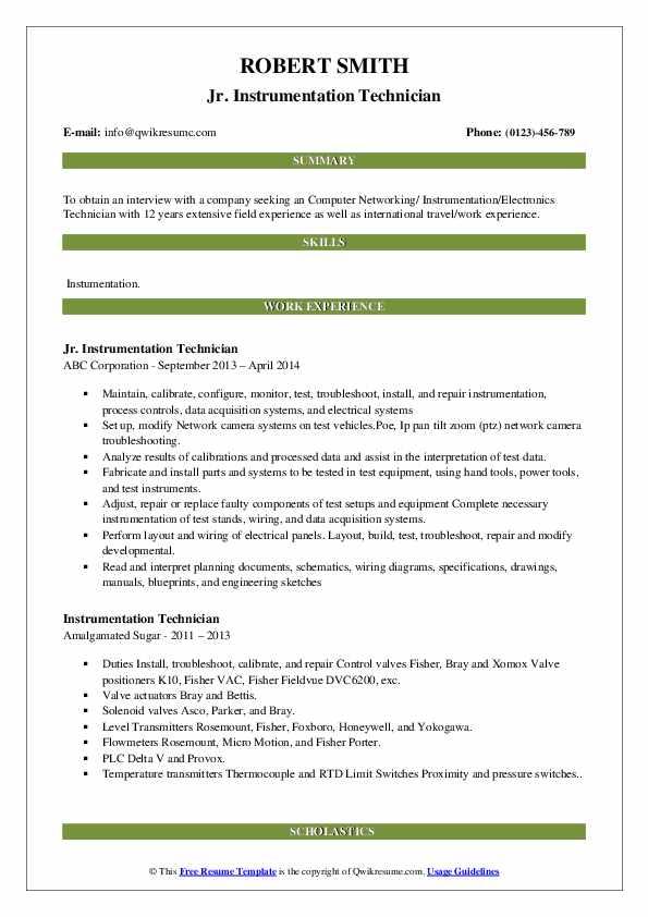 Jr. Instrumentation Technician Resume Example