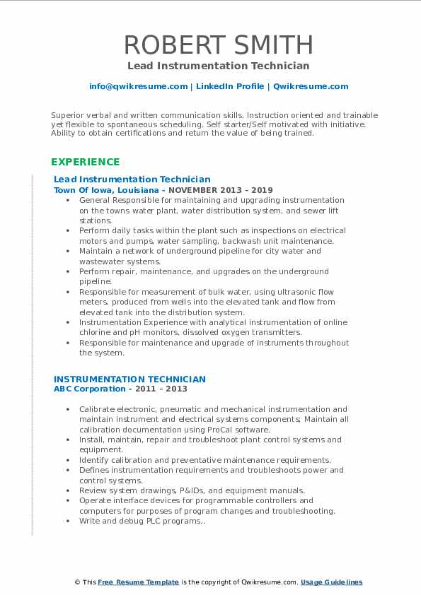 Lead Instrumentation Technician Resume Format