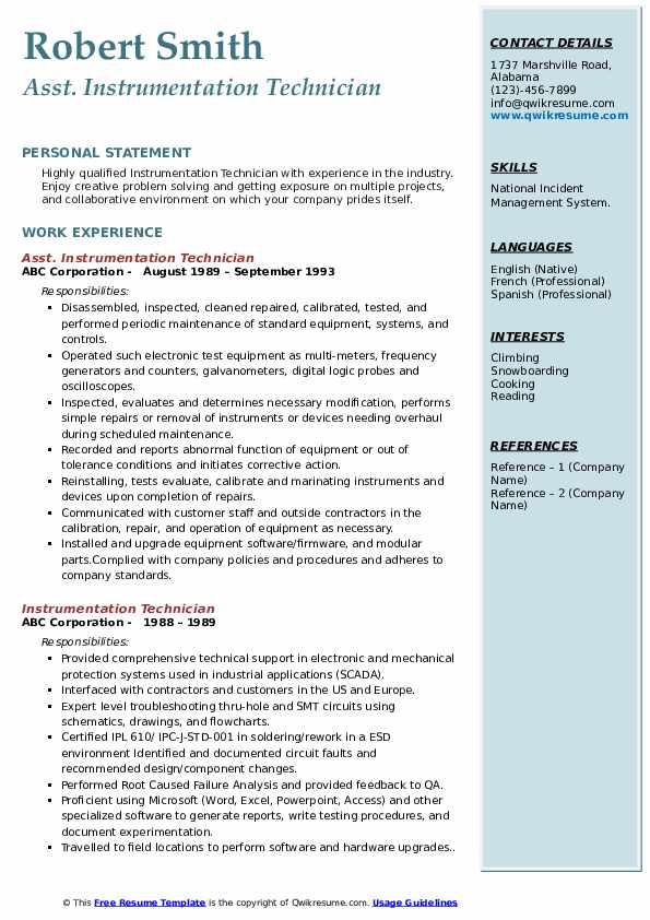 Asst. Instrumentation Technician Resume Model