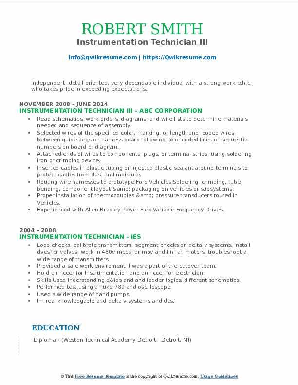 Instrumentation Technician III Resume Format