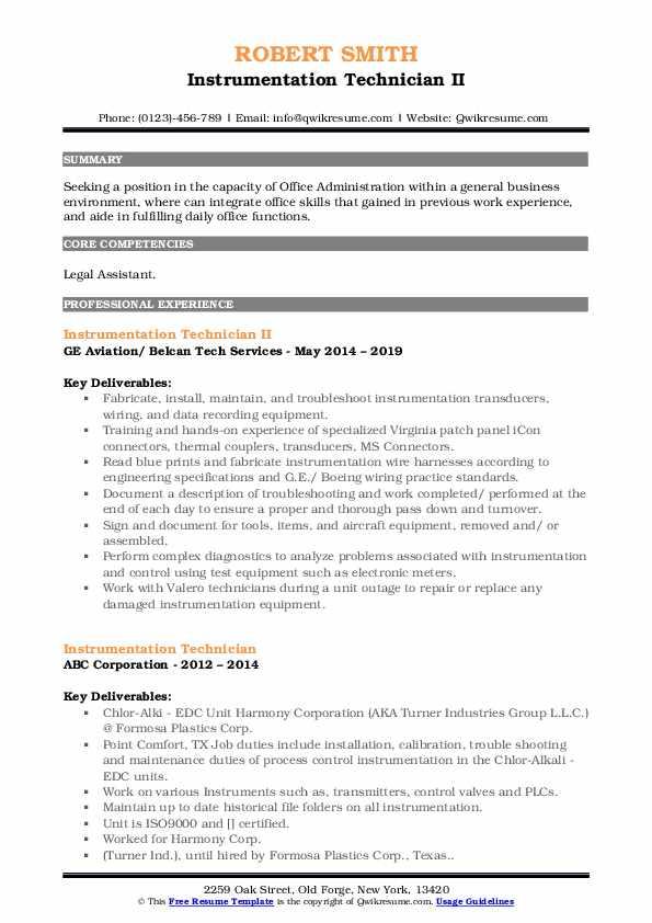 Instrumentation Technician II Resume Example