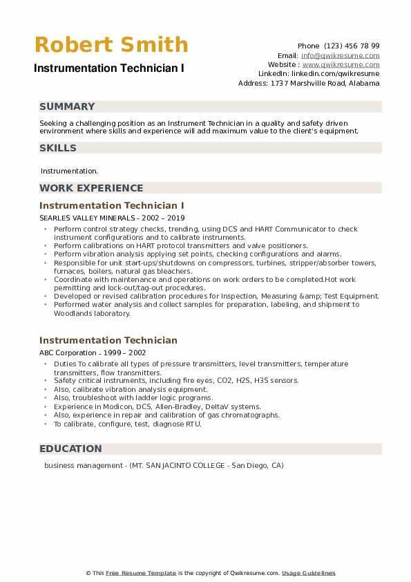 Instrumentation Technician I Resume Sample