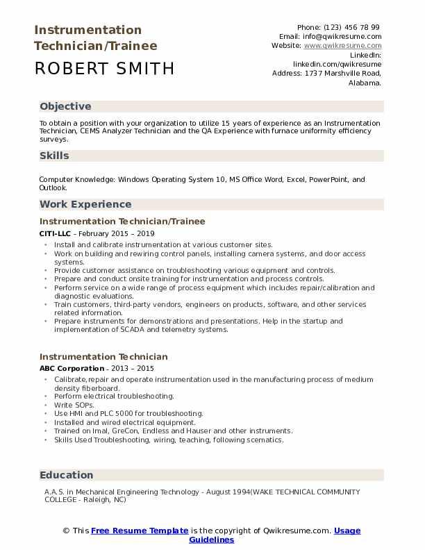 Instrumentation Technician/Trainee Resume Model