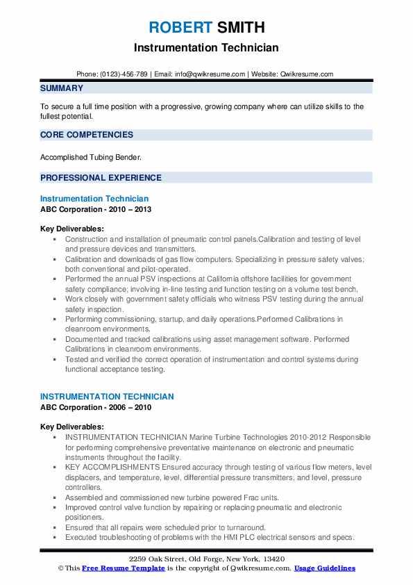 Instrumentation Technician Resume example