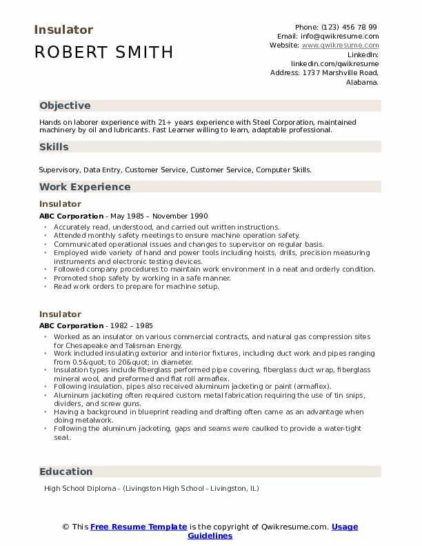 Insulator Resume Template