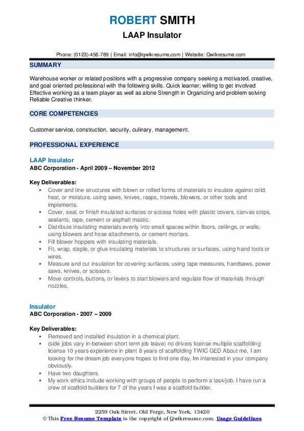 LAAP Insulator Resume Format
