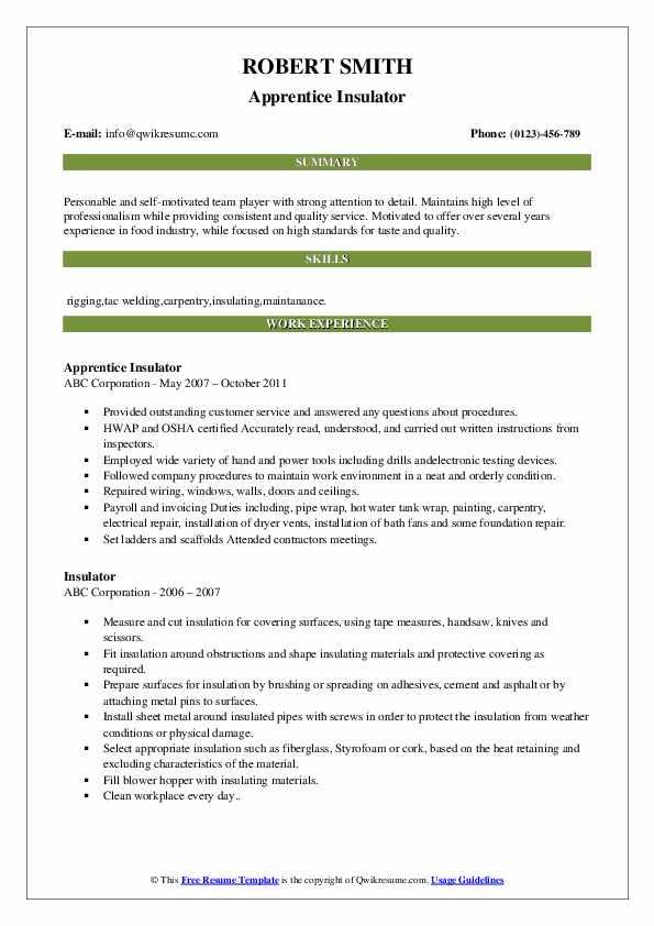 Apprentice Insulator Resume Model
