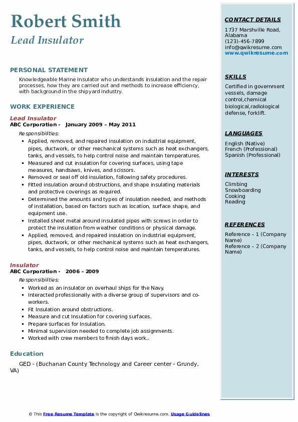 Lead Insulator Resume Format