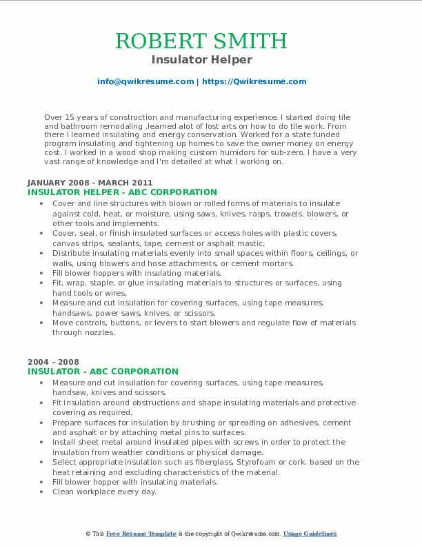 Insulator Helper Resume Model