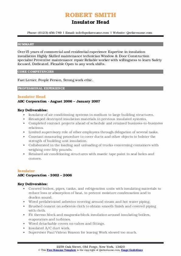 Insulator Head Resume Template