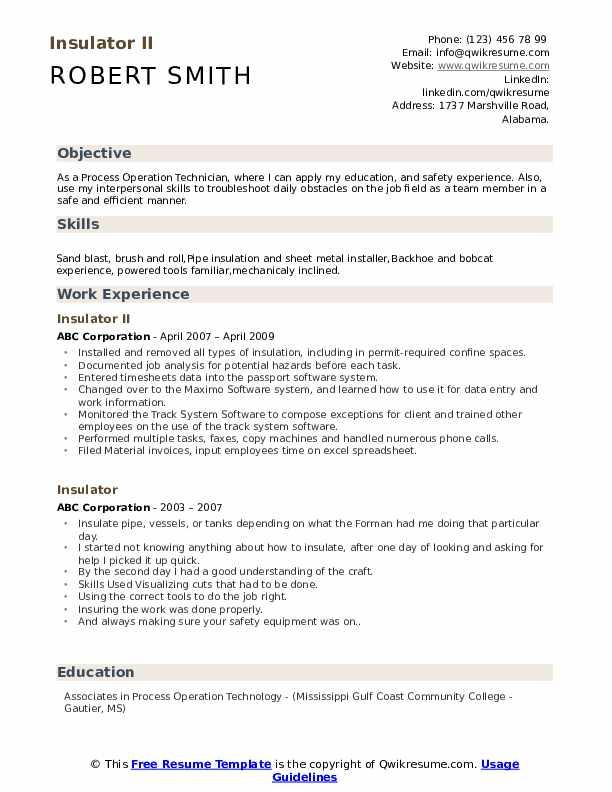Insulator II Resume Model