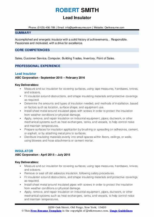 Lead Insulator Resume Template