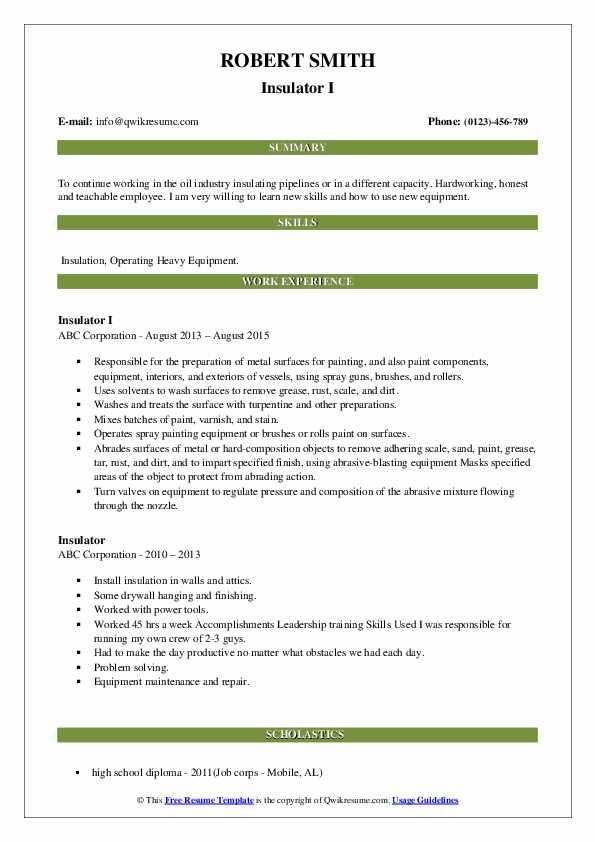 Insulator I Resume Sample