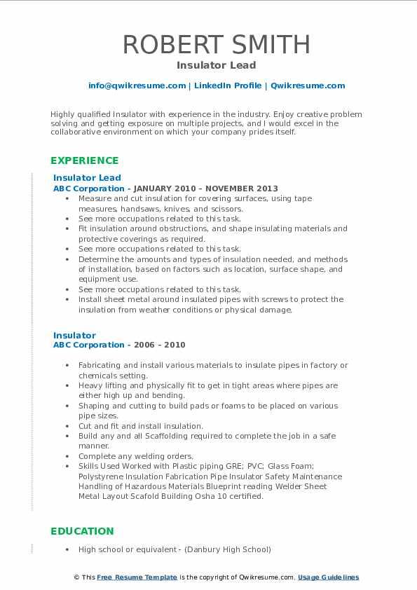 Insulator Lead Resume Model