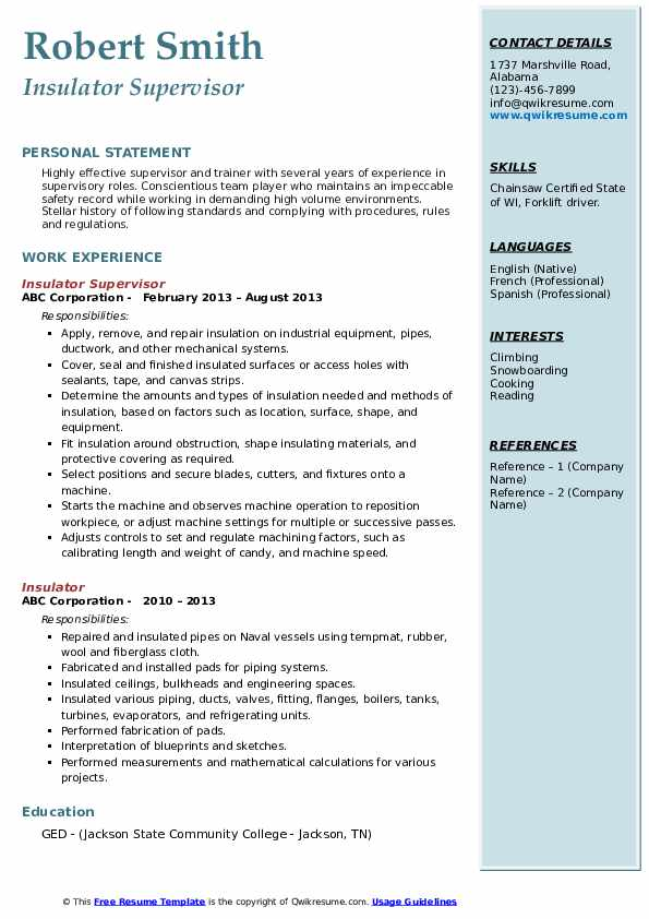 Insulator Supervisor Resume Sample