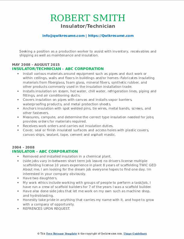 Insulator/Technician Resume Model