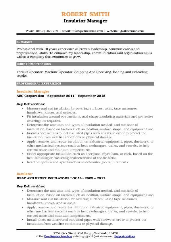 Insulator Manager Resume Format