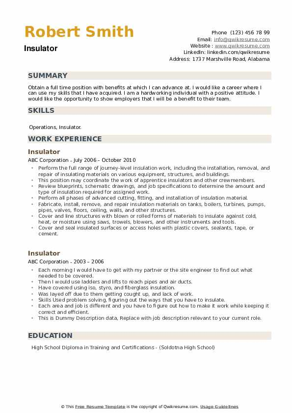 Insulator Resume example