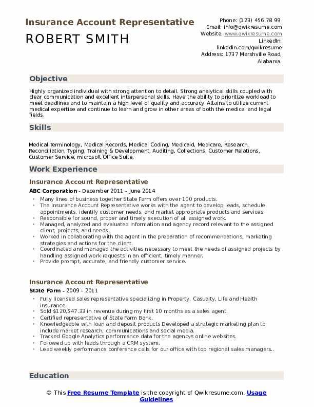Insurance Account Representative Resume Example