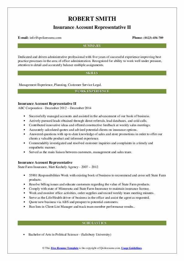 Insurance Account Representative II Resume Model