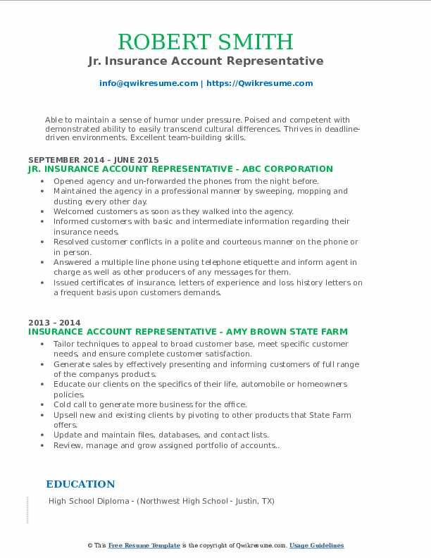 Jr. Insurance Account Representative Resume Sample