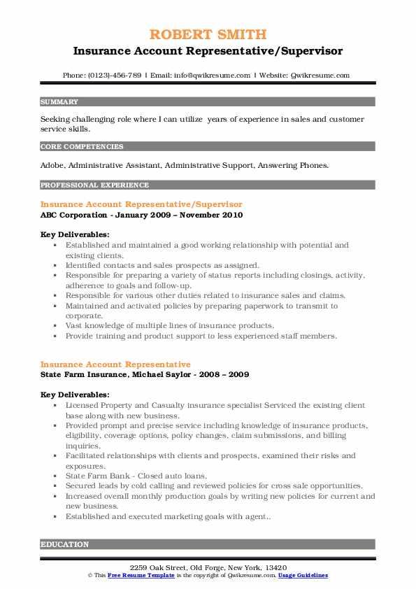 Insurance Account Representative/Supervisor Resume Model