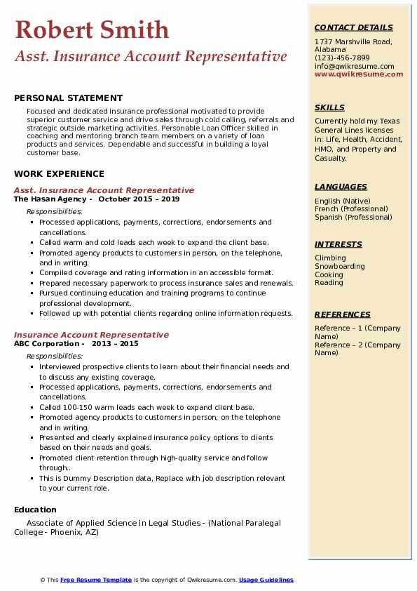 Asst. Insurance Account Representative Resume Format