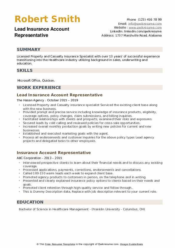 Lead Insurance Account Representative Resume Template