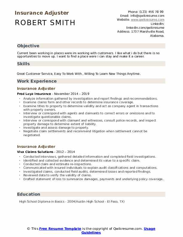 Insurance Adjuster Resume Sample