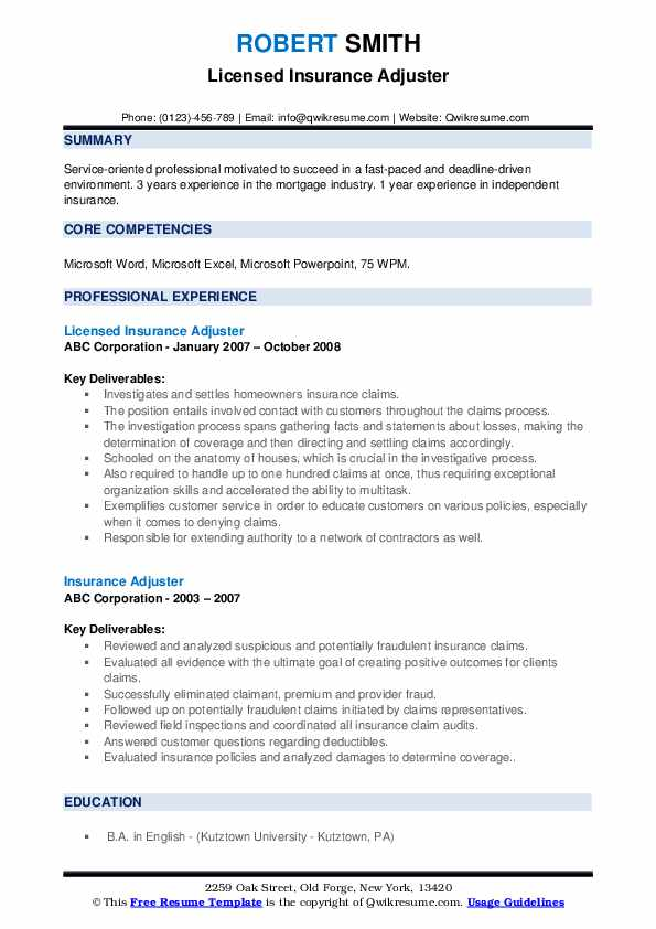 insurance adjuster resume samples