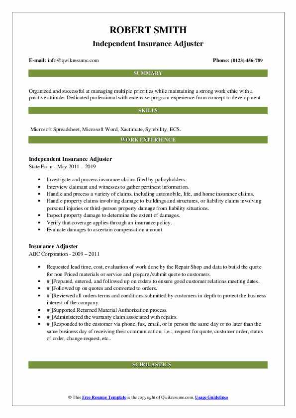 Independent Insurance Adjuster Resume Example