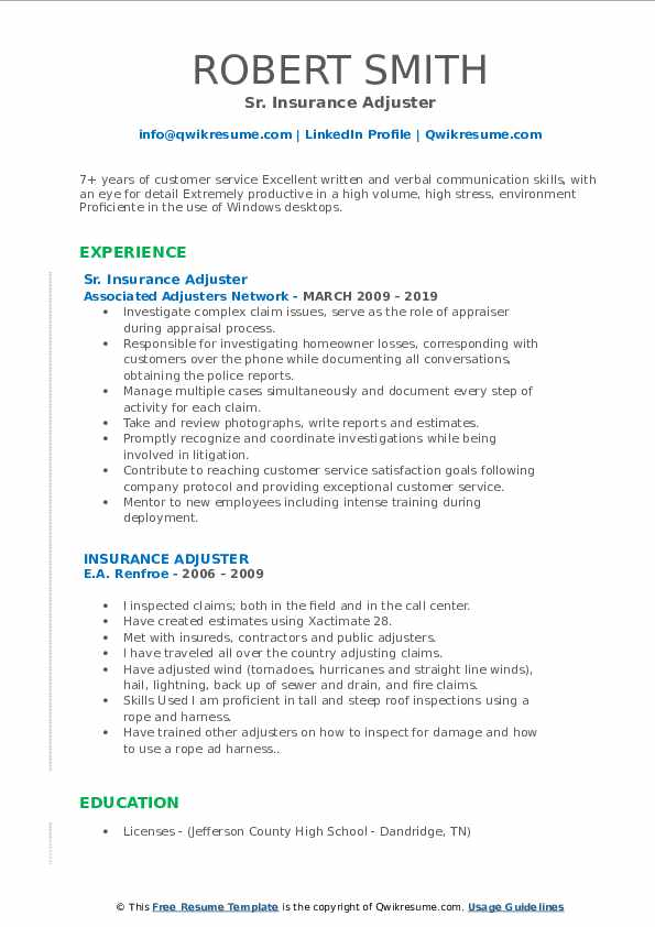 Sr. Insurance Adjuster Resume Template