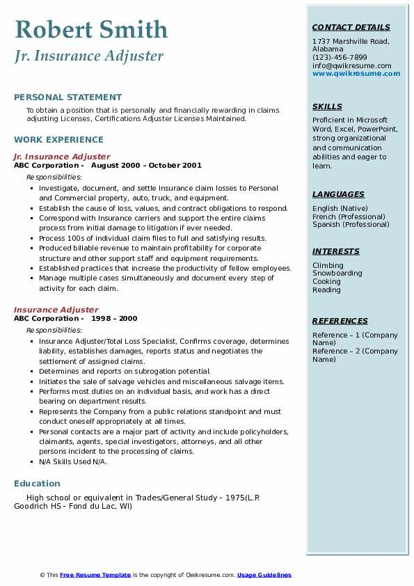 Jr. Insurance Adjuster Resume Sample