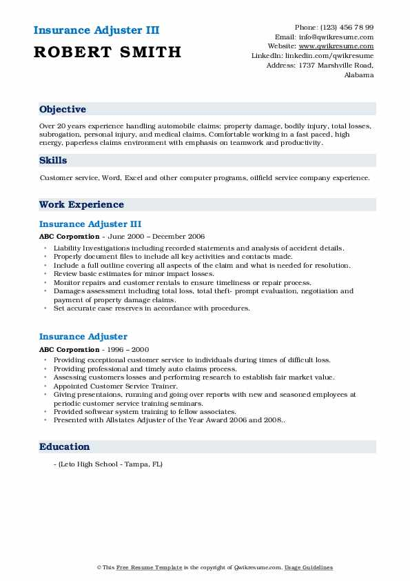 Insurance Adjuster III Resume Sample