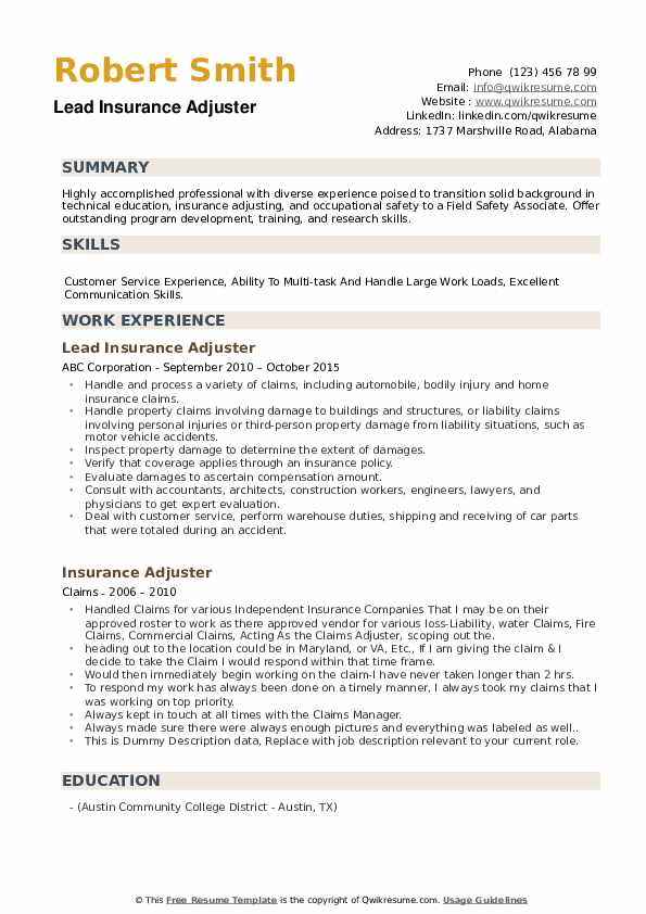 Lead Insurance Adjuster Resume Model