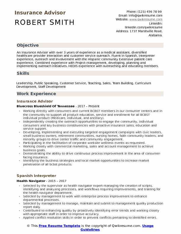 Insurance Advisor Resume Example