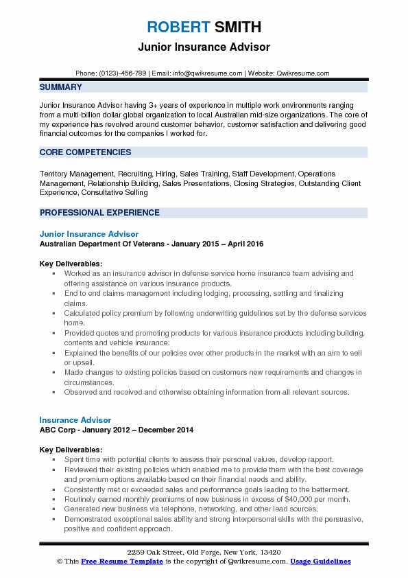 Junior Insurance Advisor Resume Example