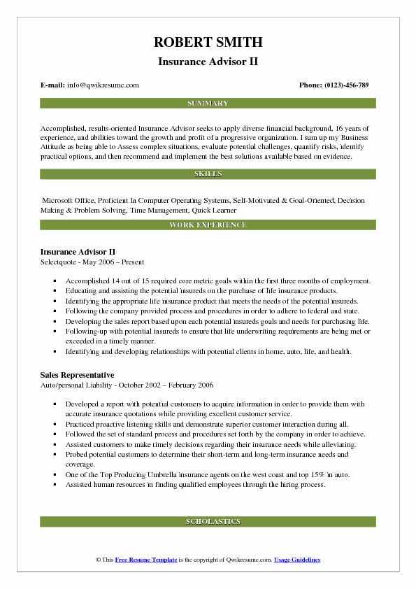 Insurance Advisor II Resume Model