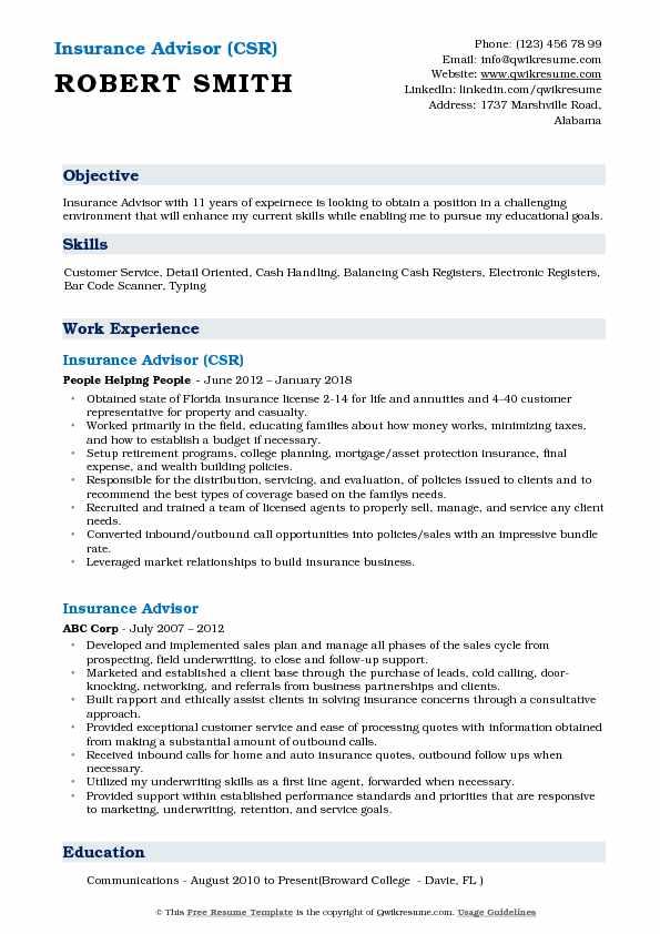 Insurance Advisor (CSR) Resume Example