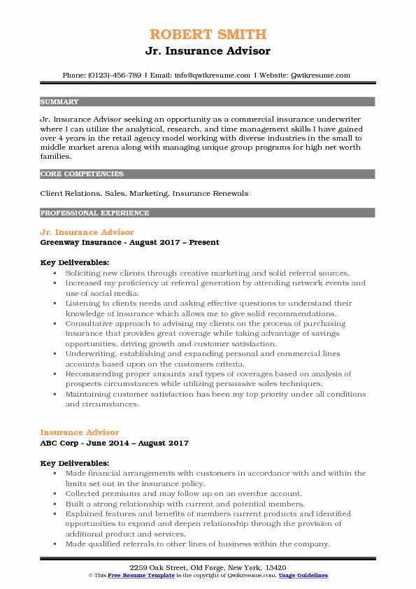 Jr. Insurance Advisor Resume Model