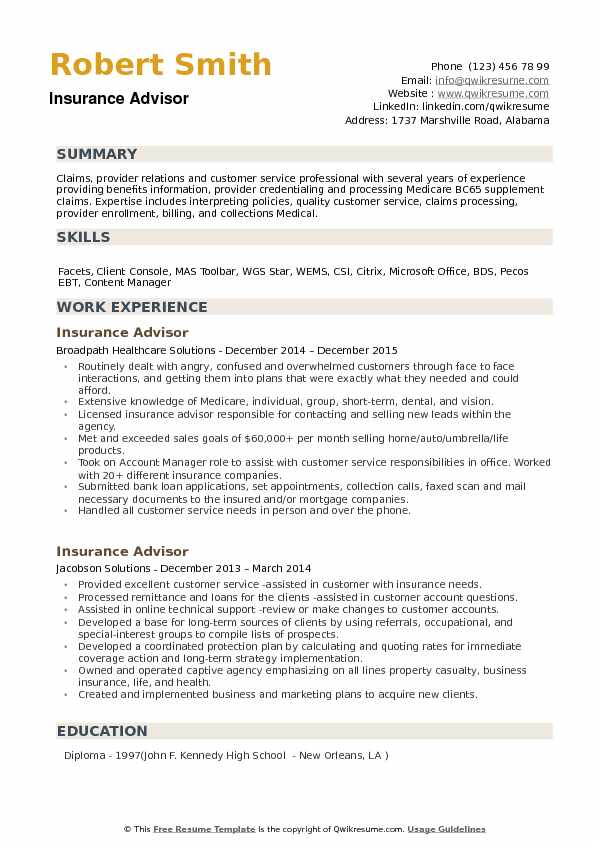 insurance advisor resume samples