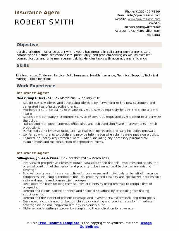 Insurance Agent Resume Samples Qwikresume