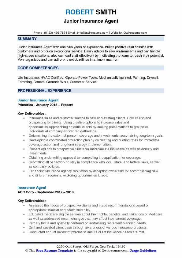 Junior Insurance Agent Resume Example