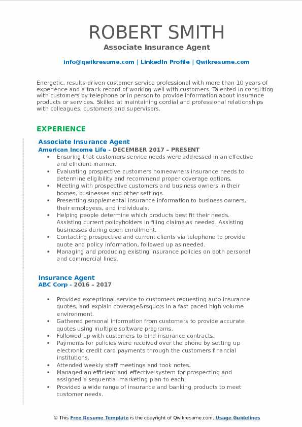Insurance Agent Resume Samples | QwikResume