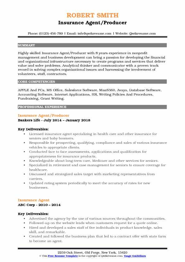 Insurance Agent/Producer Resume Template
